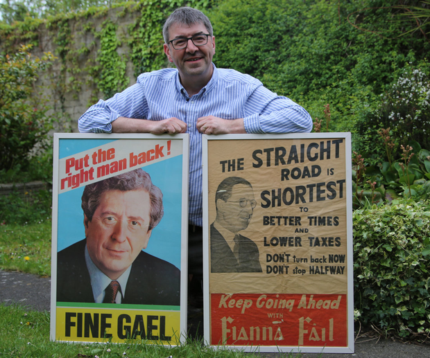 Alan Kinsella can proudly claim ownership of a 50,000-strong election leaflet collection, hundreds of posters and badges and an encyclopediac knowledge of elections and referenda in Ireland over the past four decades (Photo: Darragh Kelly)