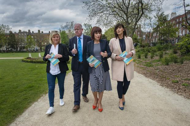 Vote Yes: Meath councillor Sharon Tolan, Justice Minister Charlie Flanagan, Culture Minister Josepha Madigan, and advocate Lisa Hughes at the launch of Fine Gael's campaign for a Yes vote. Photo: Doug O'Connor