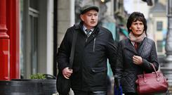 Pat Quirke arrives in court last week with his wife Imelda. Photo: Steve Humphreys