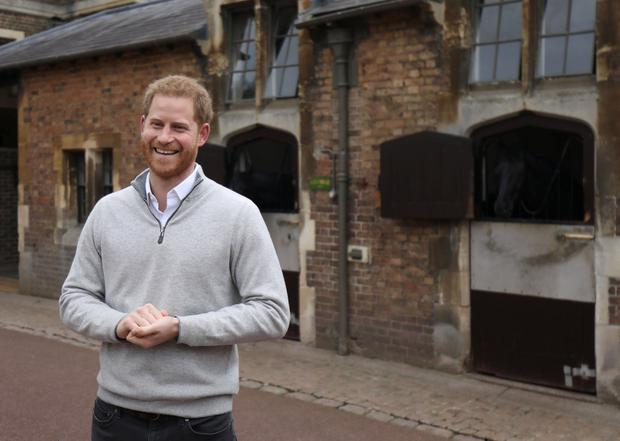 Proud dad: Prince Harry announces the birth at Windsor Castle. Picture: Reuters