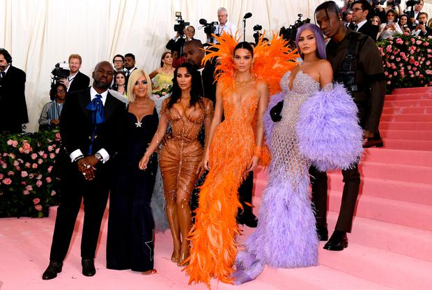 (Left to right) Corey Gamble, Kris Jenner, Kim Kardashian-West, Kanye West, Kendall Jenner, Kylie Jenner and Travis Scott attending the Metropolitan Museum of Art Costume Institute Benefit Gala 2019 in New York, USA. PRESS ASSOCIATION Photo. Picture date: Monday May 6, 2019. See PA story SHOWBIZ MET Gala. Photo credit should read: Jennifer Graylock/PA Wire
