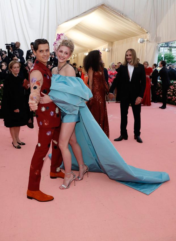 Cole Sprouse and Lily Reinhart. REUTERS/Mario Anzuoni