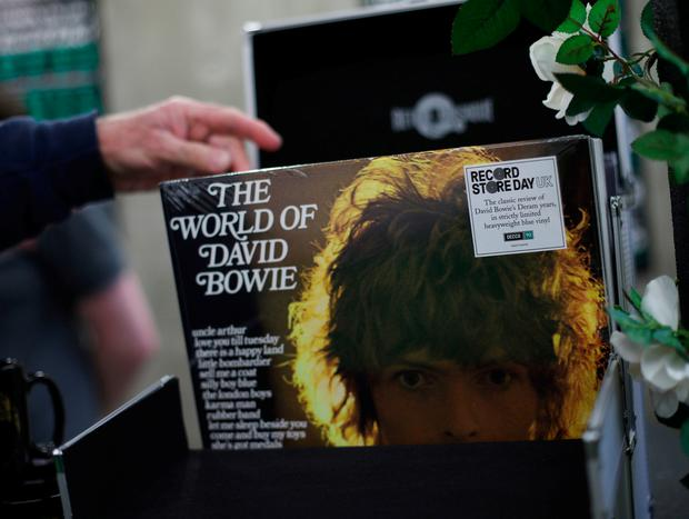 A limited vinyl edition of The World of David Bowie, on sale during the one-day event Decca 90: A Celebration, at the V&A in London. PRESS ASSOCIATION Photo. Picture date: Sunday May 5, 2019. Photo credit should read: Yui Mok/PA Wire