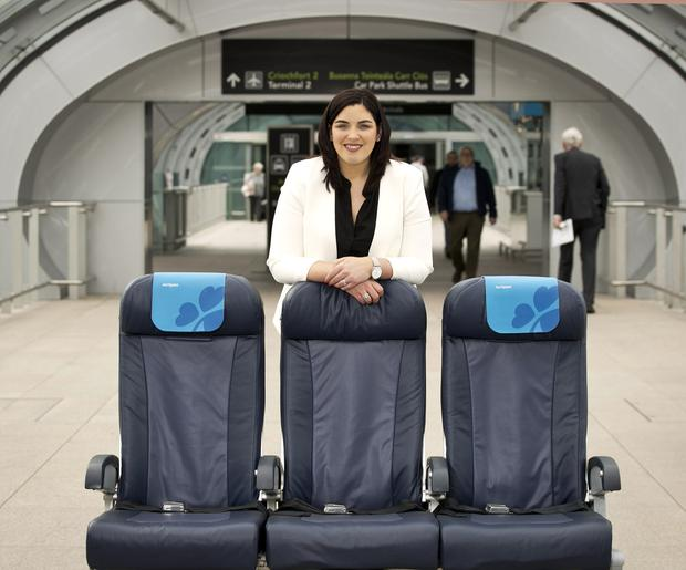 Susanne Carberry, Director of Network Revenue and Loyalty at Aer Lingus, with the new 'AerSpace' seats. Photo: Iain White / Fennell Photography