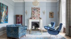 The sitting room, designed by Suzie McAdam, is split up in various shades. Photo: Ruth Maria Murphy