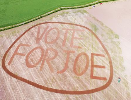 The epic 'Vote for Joe' slogan constructed using a power harrow by farmer Ciaran Slattery.