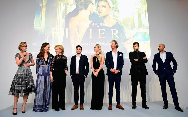 Julia Stiles, Lena Olin, Juliet Stevenson, Dimitri Leonidas, Poppy Delevingne, Jack Fox, Gregory Fitoussi and Alex Lanipekun attending the season two of Riviera Premiere hosted at Saatchi Gallery on 7 May - Series 2 airs on Sky Atlantic and NOW TV 23 May - in London. PRESS ASSOCIATION Photo. Picture date: Tuesday May 7, 2019. Photo credit should read: PA Images on behalf of Sky Atlantic