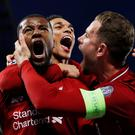 Champions League Semi Final Second Leg - Liverpool v FC Barcelona. Liverpool's Georginio Wijnaldum celebrates scoring their third goal with Jordan Henderson and Trent Alexander-Arnold. REUTERS/Phil Noble