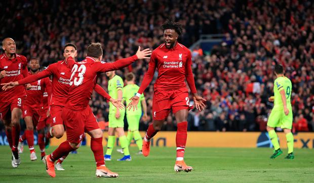 Liverpool's Divock Origi celebrates scoring his side's fourth goal of the game during the UEFA Champions League Semi Final. Photo credit: Peter Byrne/PA Wire.