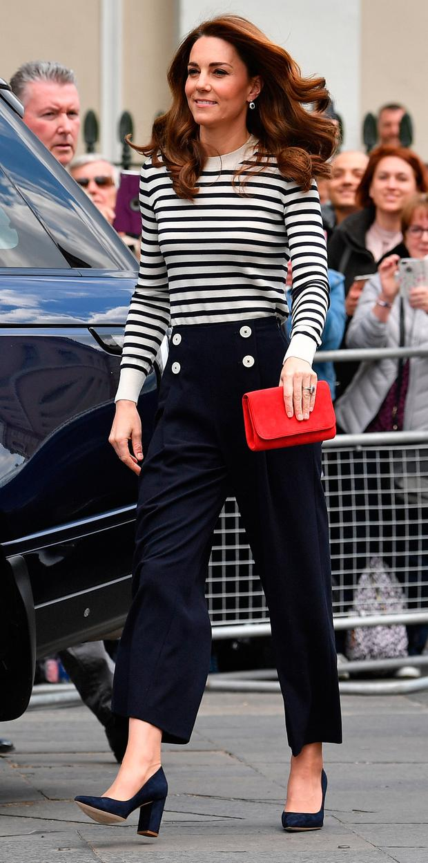 Catherine, Duchess of Cambridge arrives to launch the King's Cup Regatta during the launch of the King's Cup Regatta at Cutty Sark, Greenwich on May 7, 2019 in London, England. (Photo by Ben Stansall - WPA Pool / Getty Images)