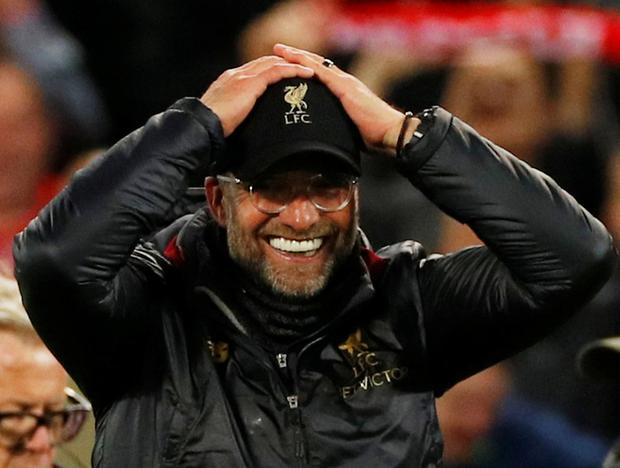 Liverpool manager Juergen Klopp celebrates after the match REUTERS/Phil Noble