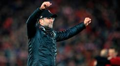Liverpool manager Jurgen Klopp celebrates after the UEFA Champions League Semi Final win over Barcelona. Photo credit: Peter Byrne/PA Wire.