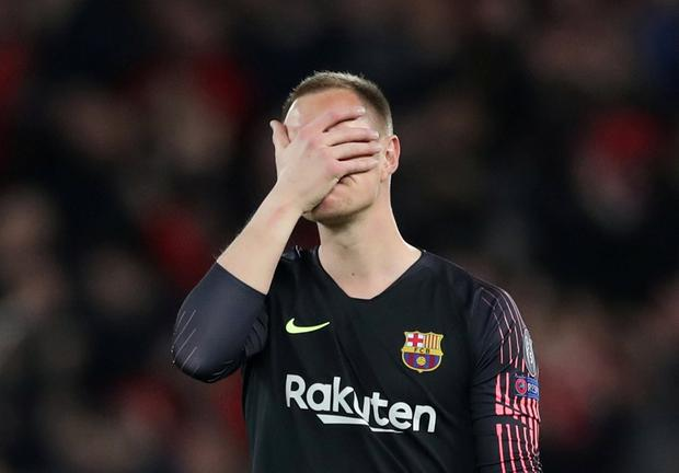 Barcelona's Marc-Andre ter Stegen reacts after his side's 4-0 defeat to Liverpool Action Images via Reuters/Carl Recine