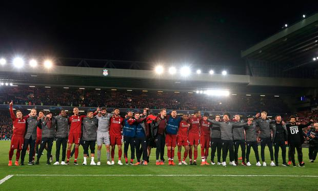 Liverpool celebrate after the UEFA Champions League Semi Final win over Barcelona. Photo credit: Peter Byrne/PA Wire.