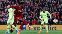 Soccer Football - Champions League Semi Final Second Leg - Liverpool v FC Barcelona - Liverpool's Divock Origi scores their fourth goal. REUTERS/Phil Noble