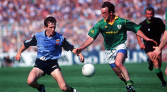 Niall Guiden, Dublin in action against Colm Coyle, Meath during the epic clashes in 1991