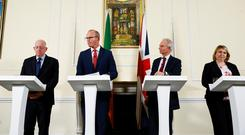 Britain's Minister for the Cabinet Office David Lidington, Britain's Secretary of State for Northern Ireland Karen Bradley, Ireland's Tanaiste and Minister for Foreign Affairs Simon Coveney and Ireland's Minister for Justice and Equality Charles Flanagan during a press conference in London. Photo: REUTERS/Henry Nicholls