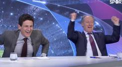 Tottenham fan Brian Kerr toasted a famous victory for the north London side in the Virgin Media Sport studios
