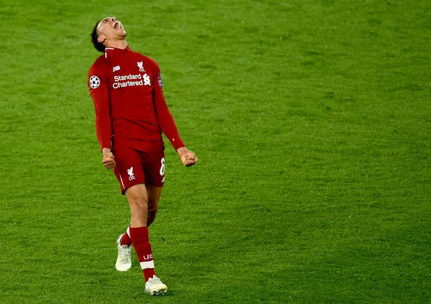 Trent Alexander-Arnold celebrates at the final whistle after Liverpool's victory over Barcelona. Photo: Andrew Powell/Liverpool FC via Getty Images