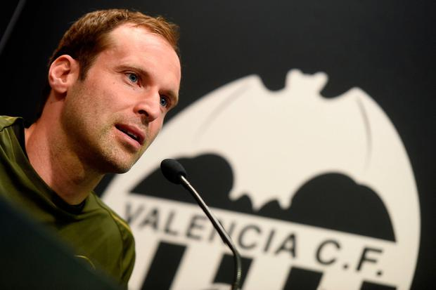 Arsenal goalkeeper Petr Cech pictured during a press conference at the Mestalla stadium in Valencia on the eve of the UEFA Europa League semi-final second leg football match between Valencia and Arsenal. Photo: JOSE JORDAN/AFP/Getty Images