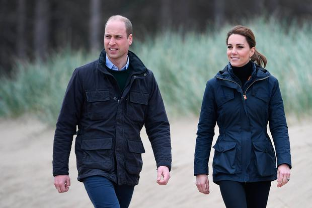 Prince William, Duke of Cambridge and Catherine, Duchess of Cambridge on a visit to Newborough Beach where they met the Menai Bridge Scouts and explored the beachs wildlife habitat, during a visit to North Wales on May 08, 2019 in Anglesey, United Kingdom. (Photo by Paul Ellis - WPA Pool /Getty Images)