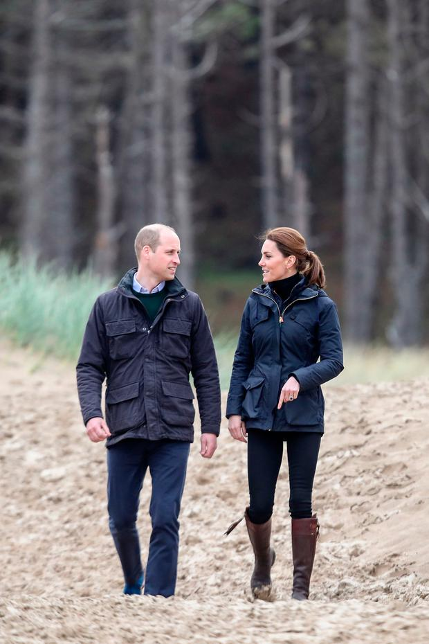 Prince William, Duke of Cambridge and Catherine, Duchess of Cambridge on a visit to Newborough Beach where they met the Menai Bridge Scouts and explored the beachs wildlife habitat. During a visit to North Wales on May 08, 2019 in Various Cities, United Kingdom. (Photo by Chris Jackson/Getty Images)