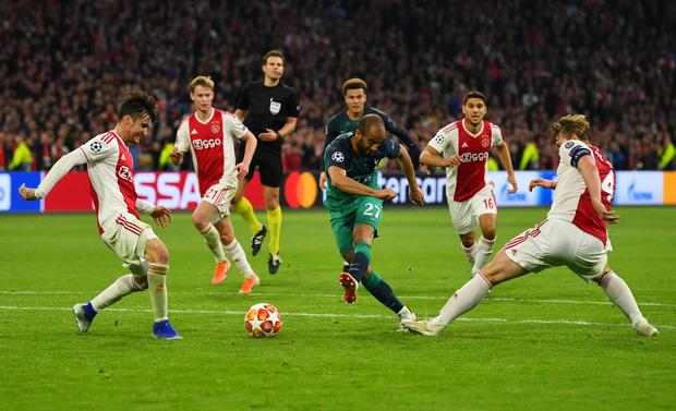 Lucas Moura pounces in the 95th minute to score Tottenham's third goal and send them through to the Champions League final after victory against Ajax. Photo: REUTERS/Dylan Martinez