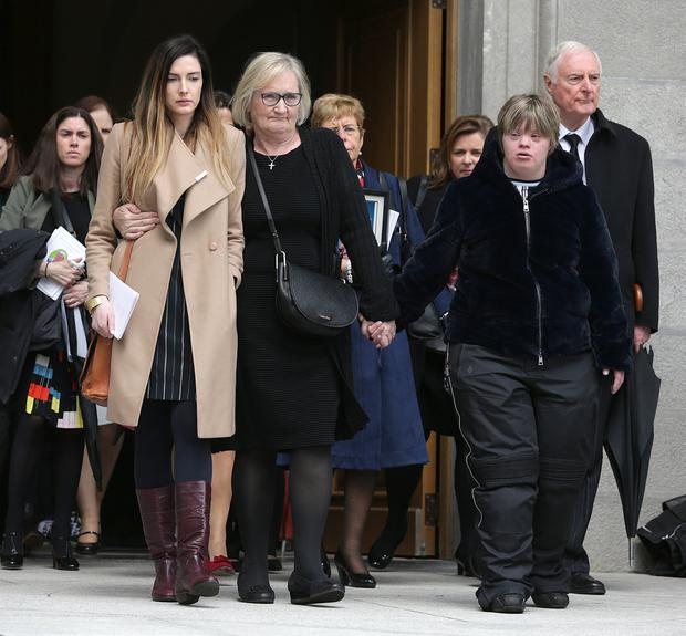 9/5/2019, Marion, with her daughter, Linda, right and daughter in law Saoirse at the funeral of her husband Eugene McGee at St Mel's Cathedral in Longford. Picture credit; Damien Eagers / INM