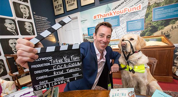 Ryan Tubridy, Coca-Cola Thank You Fund Launch Ambassador, pictured with guide dog Noah at the launch of the 2019 Coca-Cola Thank You Fund