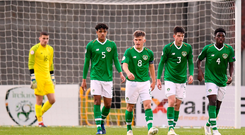 Republic of Ireland players, from left, Jimmy Corcoran, Andrew Omobamidele, Seamas Keogh, James Furlong and Timi Sobowale after conceding