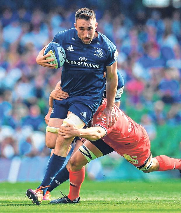 Jack Conan attempting to escape the clutches Toulouse's Francois Cros during the semi-final. Photo: Sportsfile