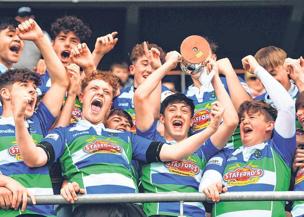 Gorey captain Darragh Fitzpatrick lifts U-16 Cup. Photo: Sportsfile