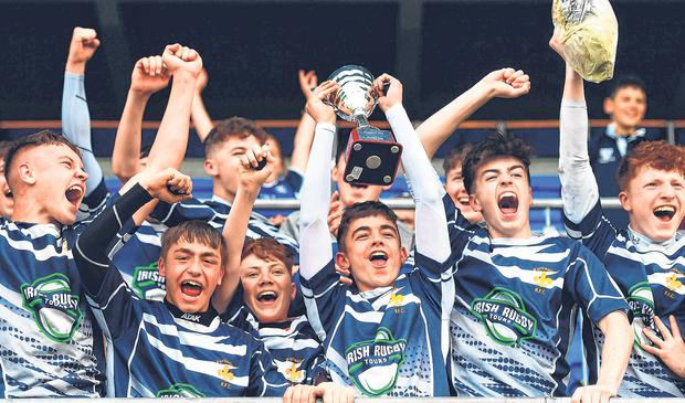Portlaoise captain Ben Dempsey after U-16 Plate victory over Tullow. Photo: Sportsfile