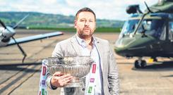 Kildare manager Cian O'Neill at the Leinster Championship launch in Casement Aerodrome, Baldonnell. Photo: David Fitzgerald/Sportsfile