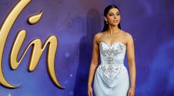 British actress Naomi Scott poses on arrival for the European Gala of Aladdin in central London on May 9, 2019. (Photo by Tolga AKMEN / AFP)TOLGA AKMEN/AFP/Getty Images