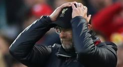 Liverpool manager Juergen Klopp reacts. Action Images via Reuters/Carl Recine