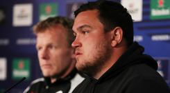 Saracens' Jamie George during the press conference today. Action Images via Reuters/Lee Smith