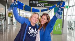 Hazel Brown from Dublin and Denise O'Brien from Wexford pictured before departing Dublin Airport ahead of Leinster's show down against Saracen's in the Heineken champions Cup final in Newcastle. Pic:Mark Condren 10.5.2019