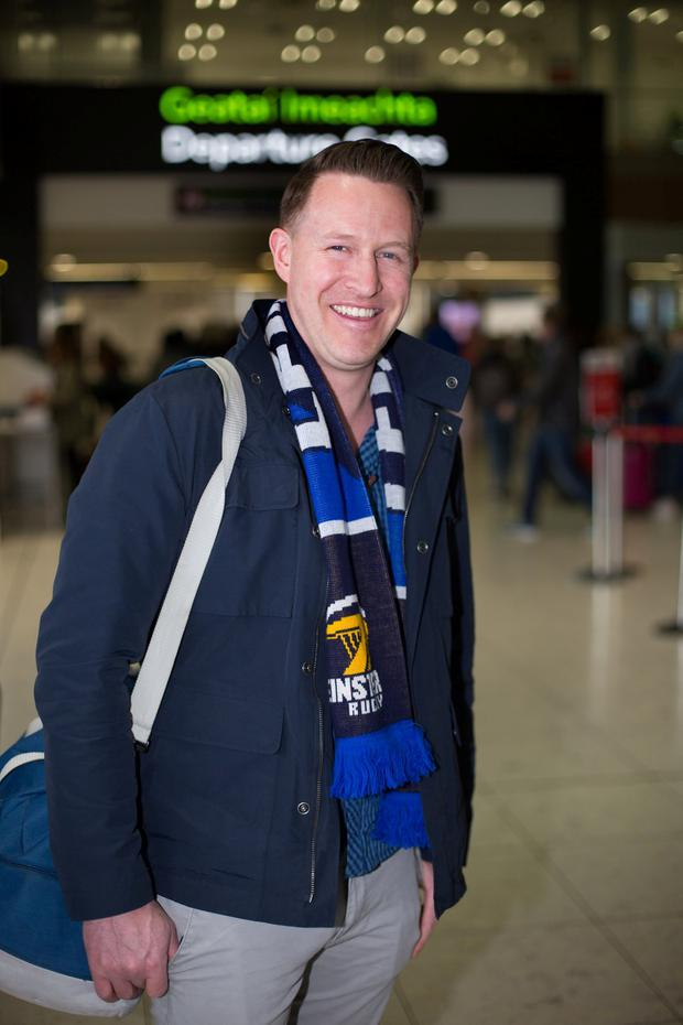 Greg Hanlon from Naas pictured before departing Dublin Airport ahead of Leinster's show down against Saracen's in the Heineken champions Cup final in Newcastle. Pic:Mark Condren 10.5.2019