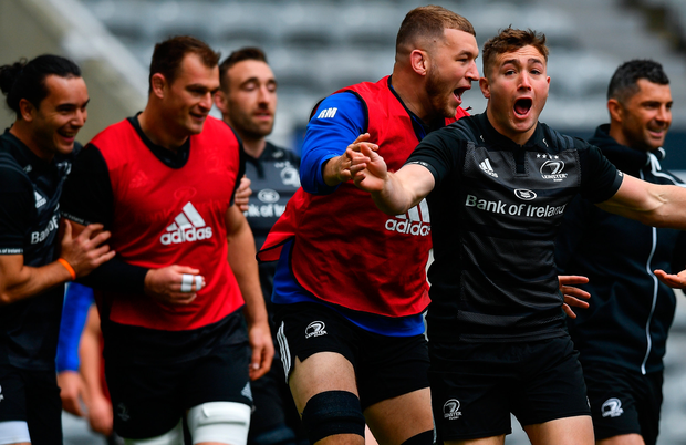 Jordan Larmour in high spirits during the Leinster Captain's Run at St James' Park in Newcastle. Photo: Sportsfile