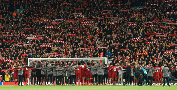 'Whatever it is, this week, with the club's momentous European win, and as they now hope beyond hope to also bag the Premier League this weekend, Liverpool - club, city and people - seems to belong to all of us.' Photo: Getty Images