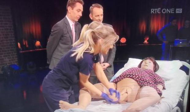 Lucina gives birth on the Late Late Show, RTE One