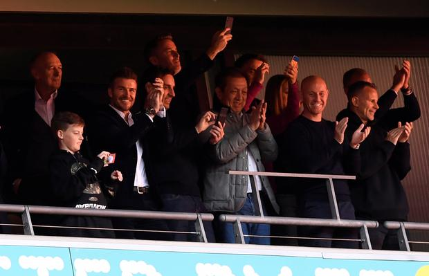 Salford City owners David Beckham, Gary Neville, Peter Lim, Nicky Butt and Ryan Giggs in the stands. Action Images via Reuters/Tony O'Brien