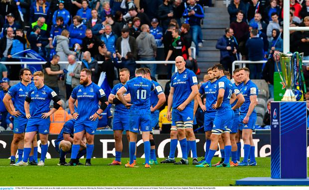 Dejected Leinster players look on as the trophy awaits to be presented to Saracens following the Heineken Champions Cup Final match between Leinster and Saracens at St James' Park in Newcastle Upon Tyne, England. Photo by Brendan Moran/Sportsfile