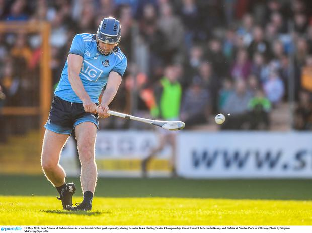 Seán Moran of Dublin shoots to score his side's first goal, a penalty, during Leinster GAA Hurling Senior Championship Round 1 match between Kilkenny and Dublin at Nowlan Park in Kilkenny. Photo by Stephen McCarthy/Sportsfile