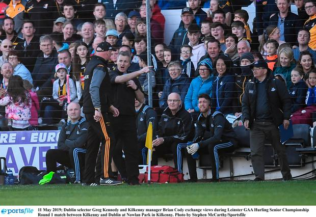 Dublin selector Greg Kennedy and Kilkenny manager Brian Cody exchange views during Leinster GAA Hurling Senior Championship Round 1 match between Kilkenny and Dublin at Nowlan Park in Kilkenny. Photo by Stephen McCarthy/Sportsfile