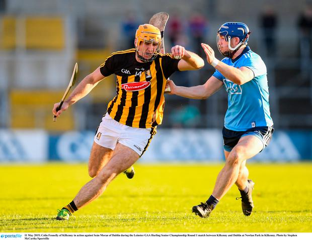 Colin Fennelly of Kilkenny in action against Seán Moran of Dublin during the Leinster GAA Hurling Senior Championship Round 1 match between Kilkenny and Dublin at Nowlan Park in Kilkenny. Photo by Stephen McCarthy/Sportsfile