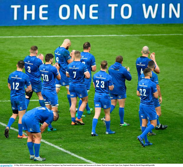 Leinster players following the Heineken Champions Cup Final match between Leinster and Saracens at St James' Park in Newcastle Upon Tyne, England. Photo by David Fitzgerald/Sportsfile