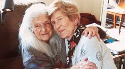 Together: Eileen Macken (82) meets her mother, Elizabeth, after over 60 years of searching