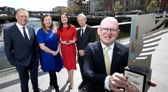 Support: Dermot Griffin, Jenny Fisher (head of corporate affairs National Lottery), Ann Marie Lenihan (CEO NewsBrands Ireland), Vincent Crowley and Tim Vaughan at the 2019 awards launch. Photo: Chris Bellew/Fennell Photography